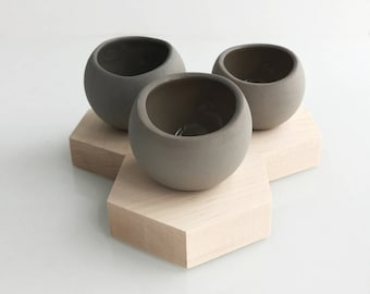 Set of 3 Taupe Hex Spora w/ Maple Base