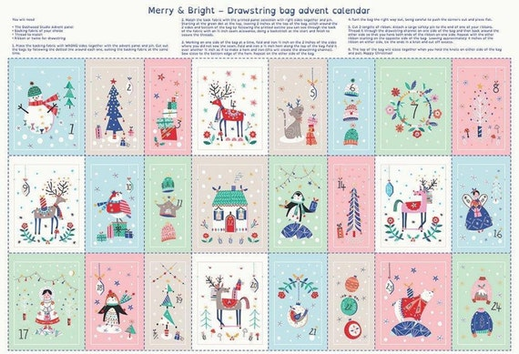 Advent Drawstring Bags Panel - Make your Own - Dashwood Studios Merry and Bright Drawstring Bag Advent Calendar-Christmas Craft