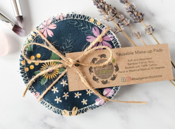 Reusable Make-up Remover Wipes - Make-up Remover Pads - Flowers on Blue - Zero Waste Sustainable Face Cloth