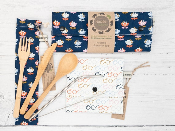 Zero Waste Gift Set - Pop - Sustainable Gift Bundle - Eco-friendly - Reusable Sandwich Bag - Snack Pack - Metal Straw - Bamboo Cutlery