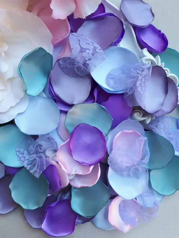 Sous la mer Turquise violet bleu rose et dentelle coeurs Satin pétales Beach Party Caraïbes sirène nuptiale de mariage de douche déco vert et violet
