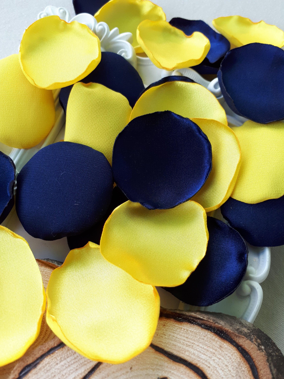 Navy Blue Yellow Handmade Satin Petals Sunflower Wedding Etsy