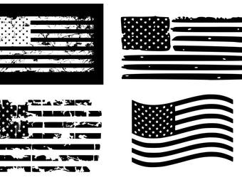 American Flag Svg Distressed USA 4th Of July Patriotic Flags SVG DXF