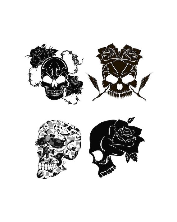 Skull Svg Sugar Skull Svg Floral Skull Svg Rose Svg Digital Etsy