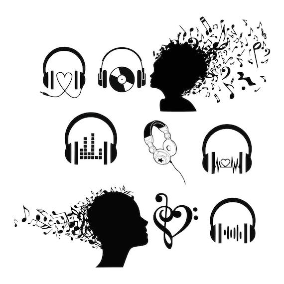 Svg De Auricular Musik Dj De Svg Svg Svg De Notas Musicales Etsy