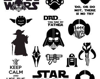 Star Wars svg Darth Vader svg Master Yoda svg Princess Leia SVG DXF Png Vector Cut File Cricut Design Silhouette Vinyl Heat Transfer Iron