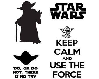 Star Wars svg Master Yoda svg SVG DXF Png Vector Cut File Cricut Design Silhouette  Stencil Decal Vinyl Heat Transfer Iron Paper