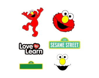 Sesame street svg Elmo svg Sesame stree Sign and Blank Sign svg Love to learn svg Cutting Template Vector Clip Art Cricut Cameo Silhouette