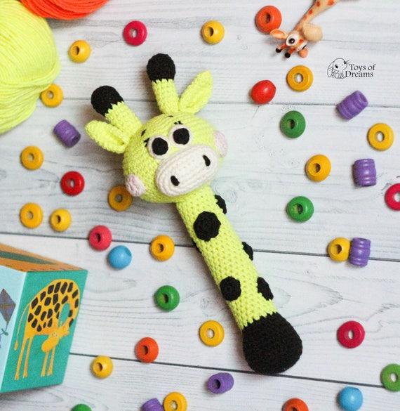 Giraffe Rassel Häkeln Rassel Baby Rassel Spielzeug Baumwolle Etsy