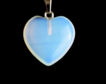 Opalite and heart DelightGenuine opalite pendant with floral design bale with opalite faceted heart beads and blue crystal spacerswomens n