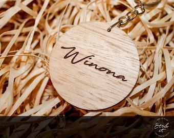 Personalised Wooden Keyring, Australian Timber, Custom, Namesake Gift Idea, Round Keychain, Wooden, Key Chain, Keepsake