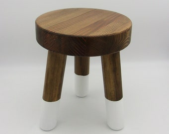 Stout 3 Legged Stool and Plant Stand, Free Returns,  10 inches diameter and 12 inches tall, Paint dipped Legs, Varied Stains Available