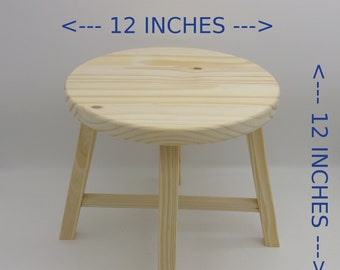 Unfinished Plant Stand or Child's Stool 12 Inches Diameter and 12 Inches Tall,