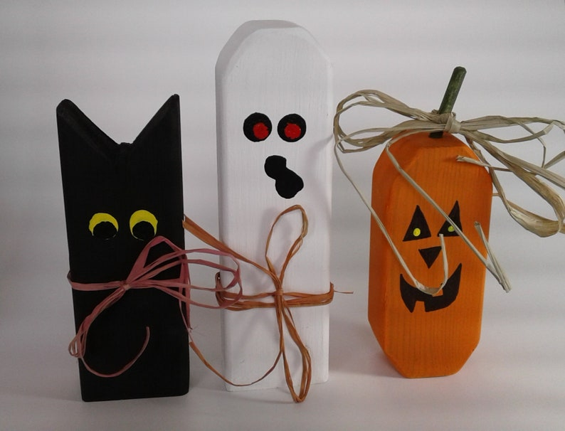 Halloween Decorations Cat Ghost Jack O Lantern Pumpkin Etsy