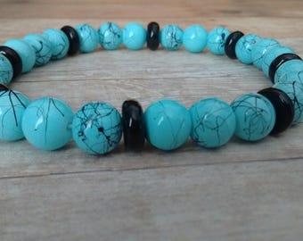 Speckled Blue & Black Stretch Bracelet