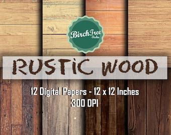 Rustic Wood Digital Paper - Printable Wood Digital Background - Wood Scrapbook Paper 12x12 - Wood Background - Instant Download