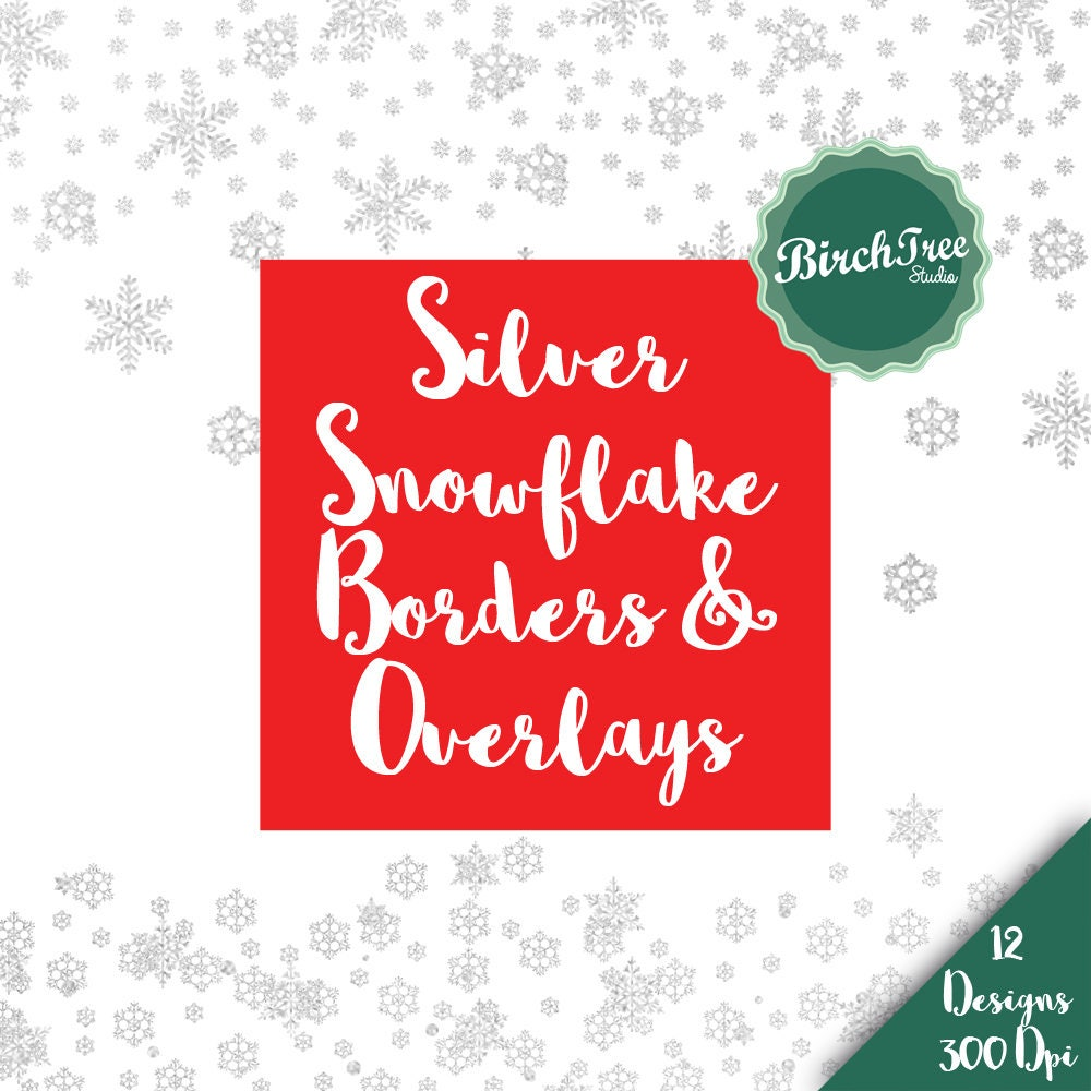 Snowflake Clipart Glitter Borders Silver Glitter Confetti | Etsy