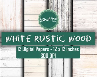 White Wood Digital Paper - Printable Wood Digital Background - Wood Scrapbook Paper 12x12 - Wood Background - Instant Download