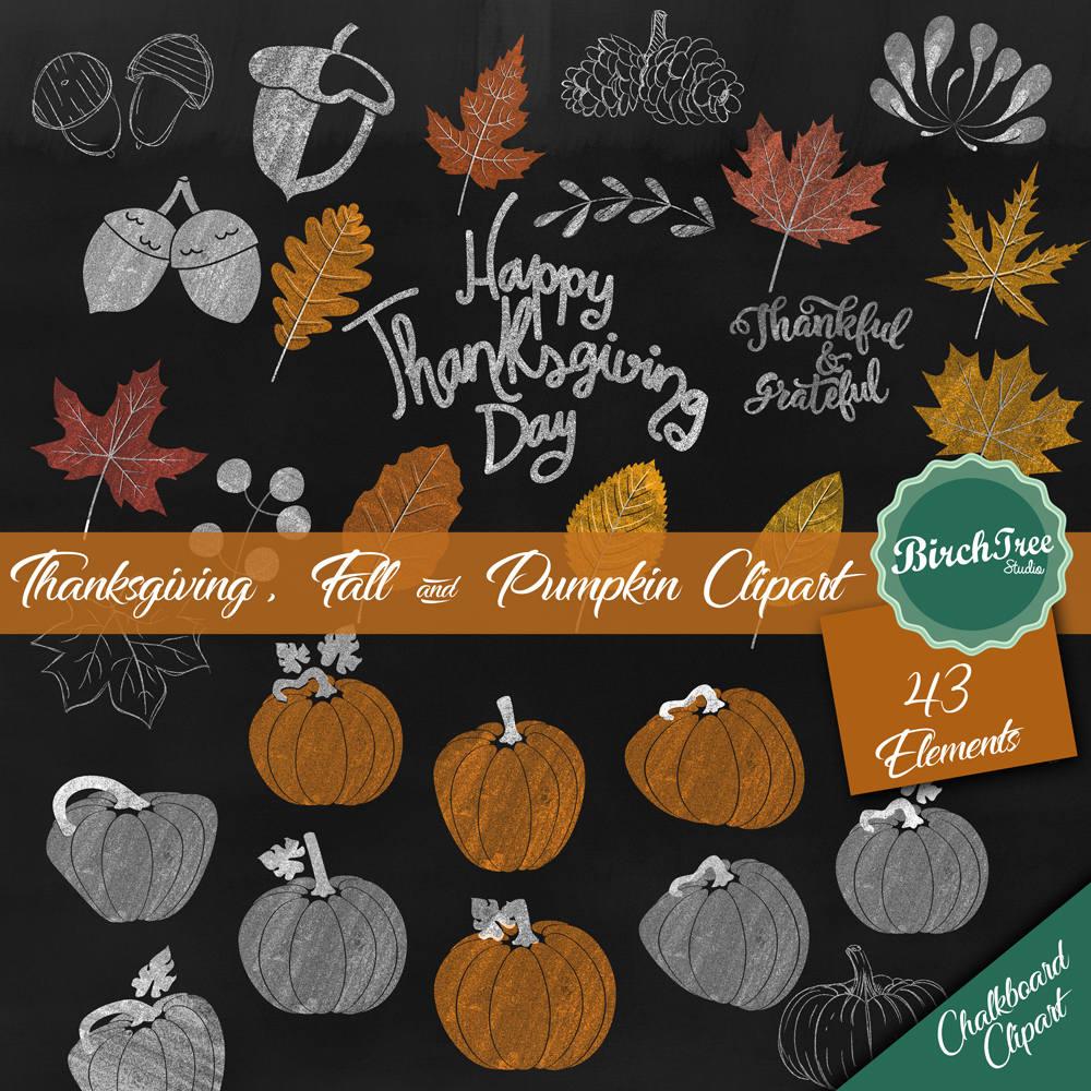 Thanksgiving Chalkboard Clipart Fall Chalk Clipart Pumpkin   Etsy
