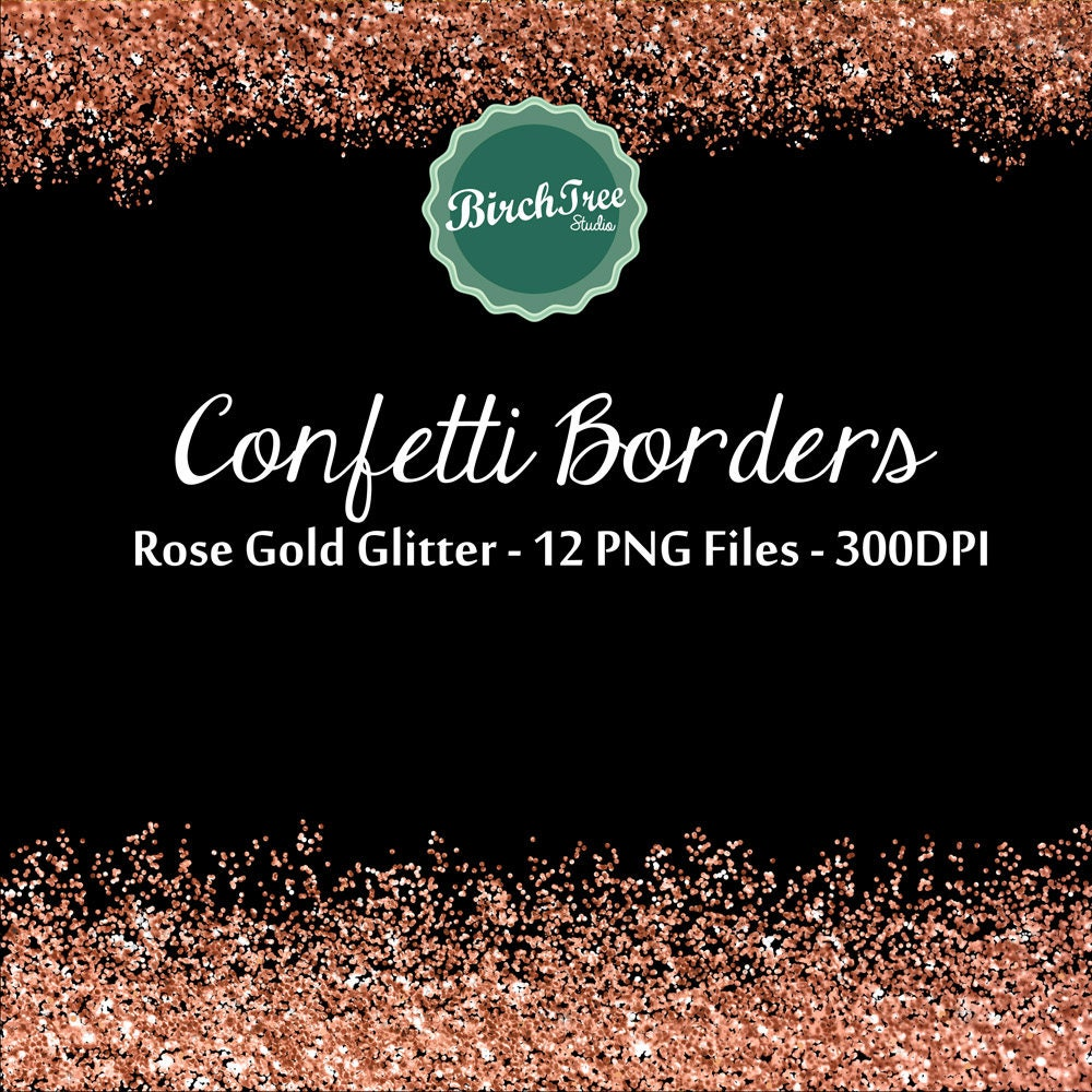 digital glitter borders confetti glitter rose gold metallic etsy rose gold confetti border png large circles pink