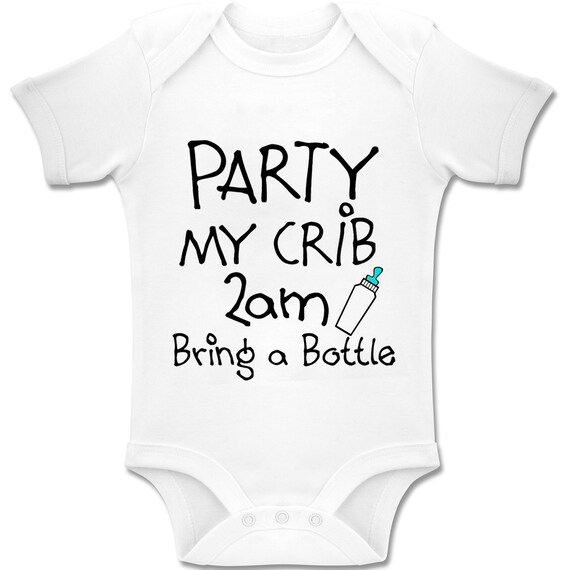 """Funny Baby Romper /""""Party My Crib 2am Bring a Bottle/"""" Boy Girl Clothes Gift"""