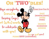 """Oh """"Two""""dles Birthday Invitation Mickey Mouse Birthday Party invite, Mickey Birthday, Two-dles Invitation, Oh Two-dles, Mickey 2nd Birthday"""