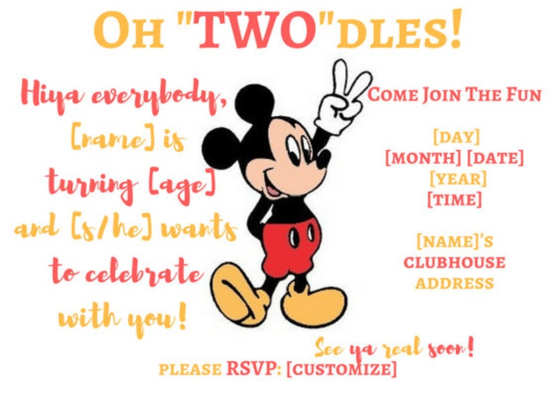 Oh Twodles Birthday Invitation Mickey Mouse image 0