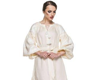 White Linen Wedding Dress Vyshyvanka Ukrainian Embroidered Dress Boho Style