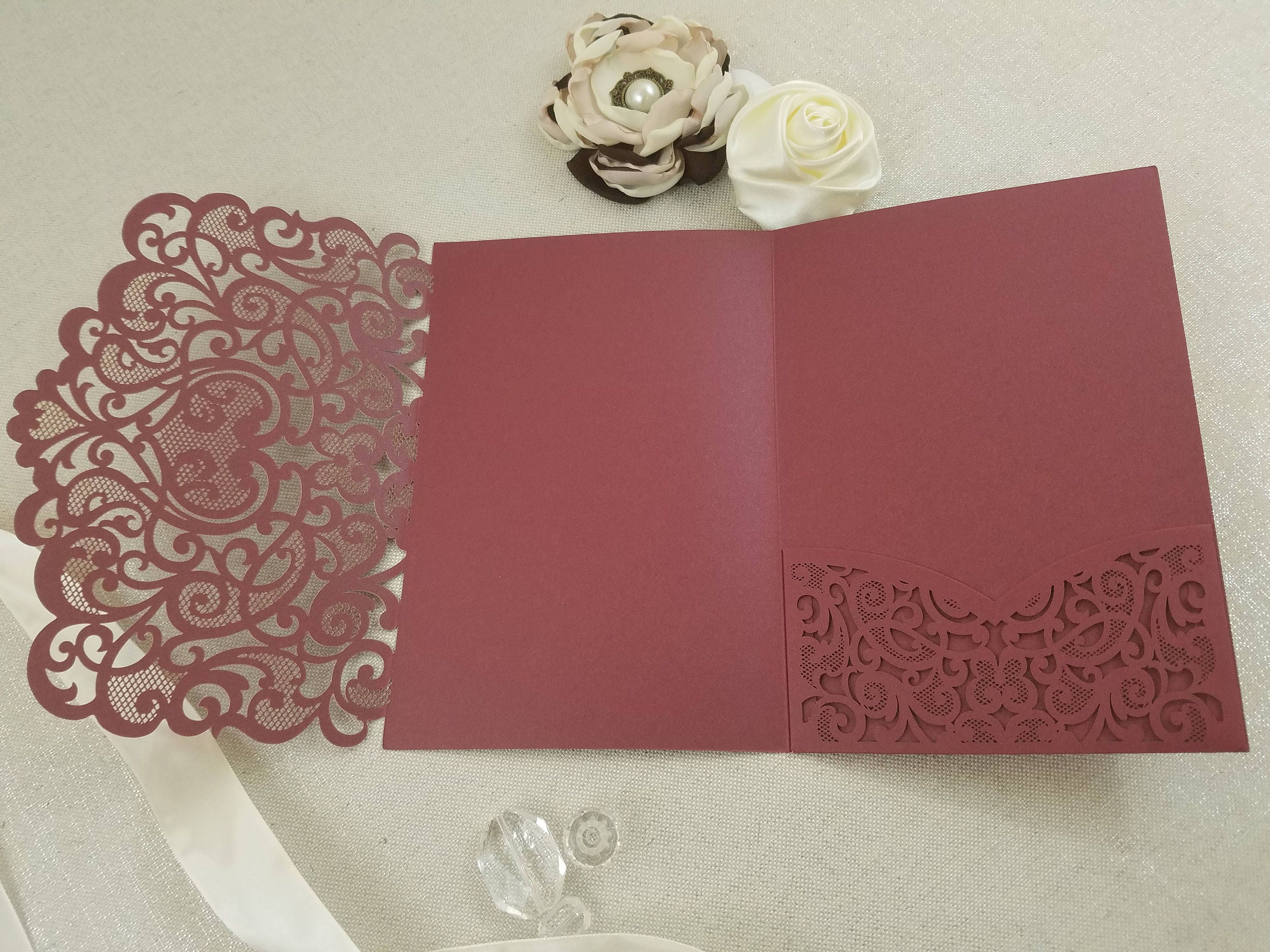 Lace Hearts Laser Cut Wedding Invitation Tri-Fold Pocket Burgundy ...