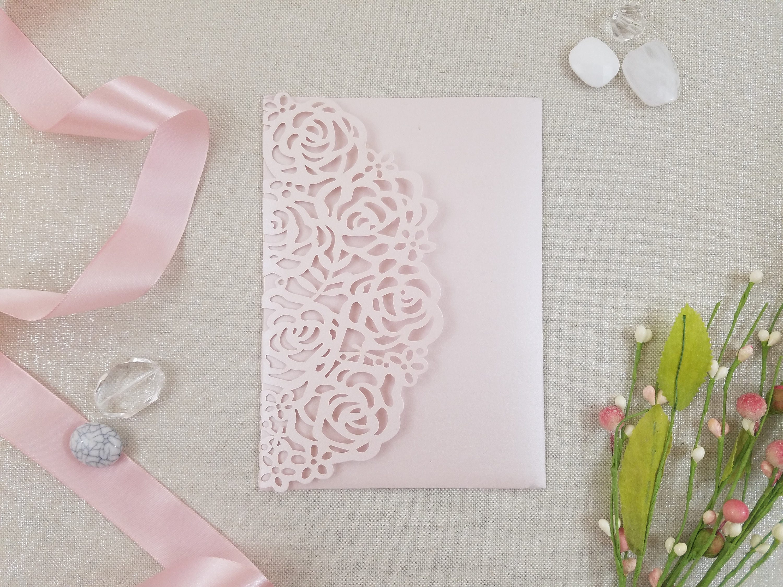 Roses Laser Cut Wedding Invitation Tri-Fold Pocket Blush Romantic ...