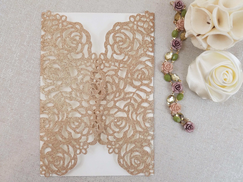 Romantic Rose Laser Cut Wedding Invitation Wrap Roses Glitter Gold