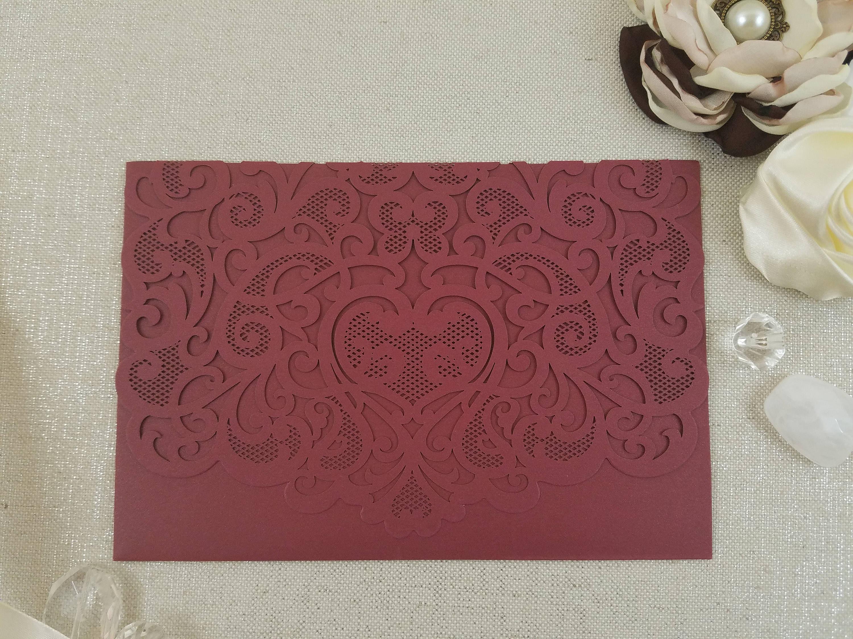 Lace Hearts Laser Cut Wedding Invitation Tri-Fold Pocket Burgundy ...