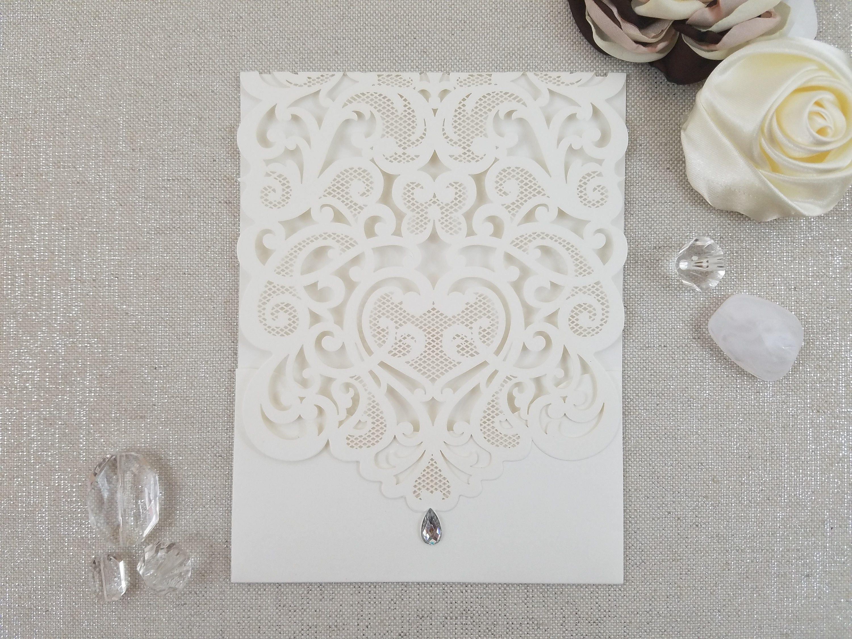 Lace And Rhinestone Laser Cut Wedding Invitation Vertical Pocket Wrap Elegant Classic Vintage: Elgant Ivory Silver Bling Wedding Invitations At Reisefeber.org