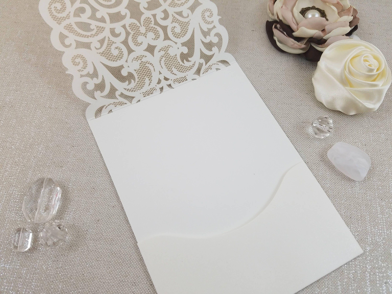 Lace And Rhinestone Laser Cut Wedding Invitation Vertical Pocket