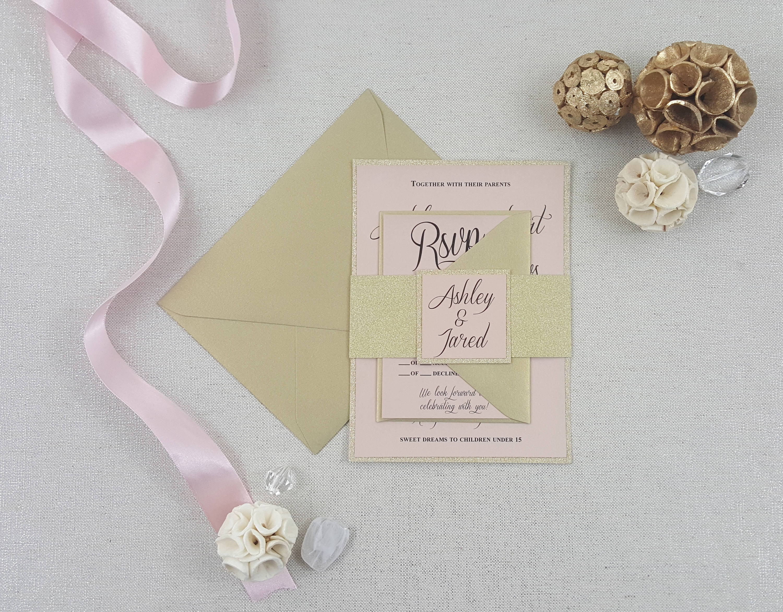 Gold Shimmer Blush Wedding Invitations Romantic Victorian Elegant: Victorian Elegant Wedding Invitations At Reisefeber.org