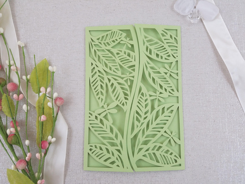 Laser Cut Garden Wedding Invitation Wrap Leaves Dragonflies Nature Mint