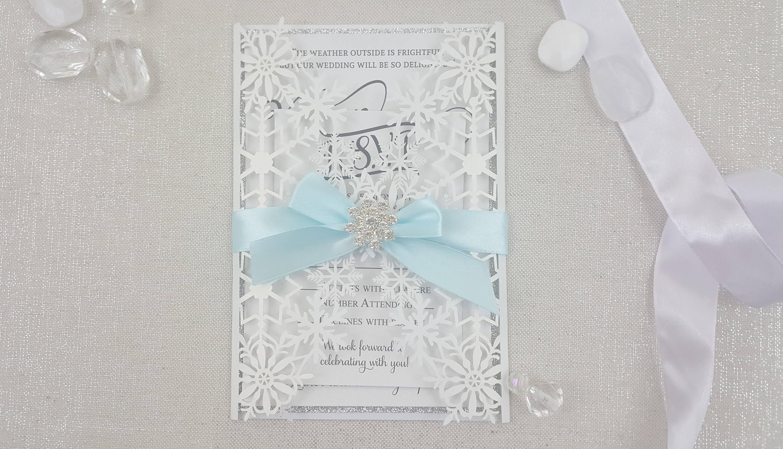 Snowflake laser cut wedding invitations,winter wonderland,christmas ...