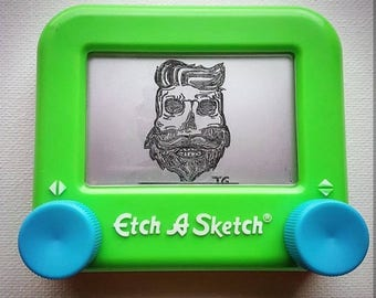 Beard skull Etch a sketch