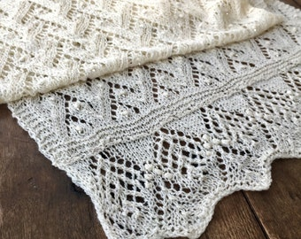 ivory lace wrap, merino wool, silk, hand knit, beaded