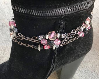 Pink and Black Boot Chain