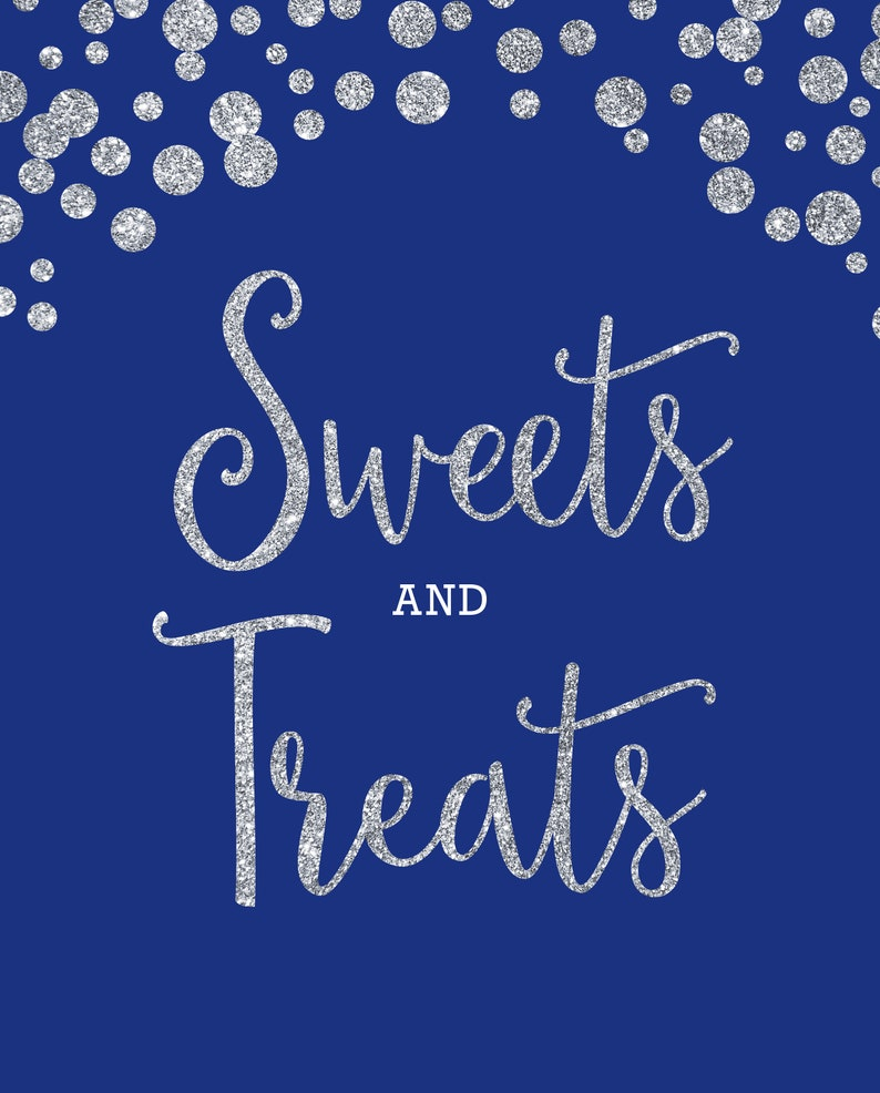 photo relating to Printable Treats referred to as Printable Sweets and Snacks Get together Decoration Royal Blue and Silver Glitter Appear, Instantaneous Down load Celebration Decor