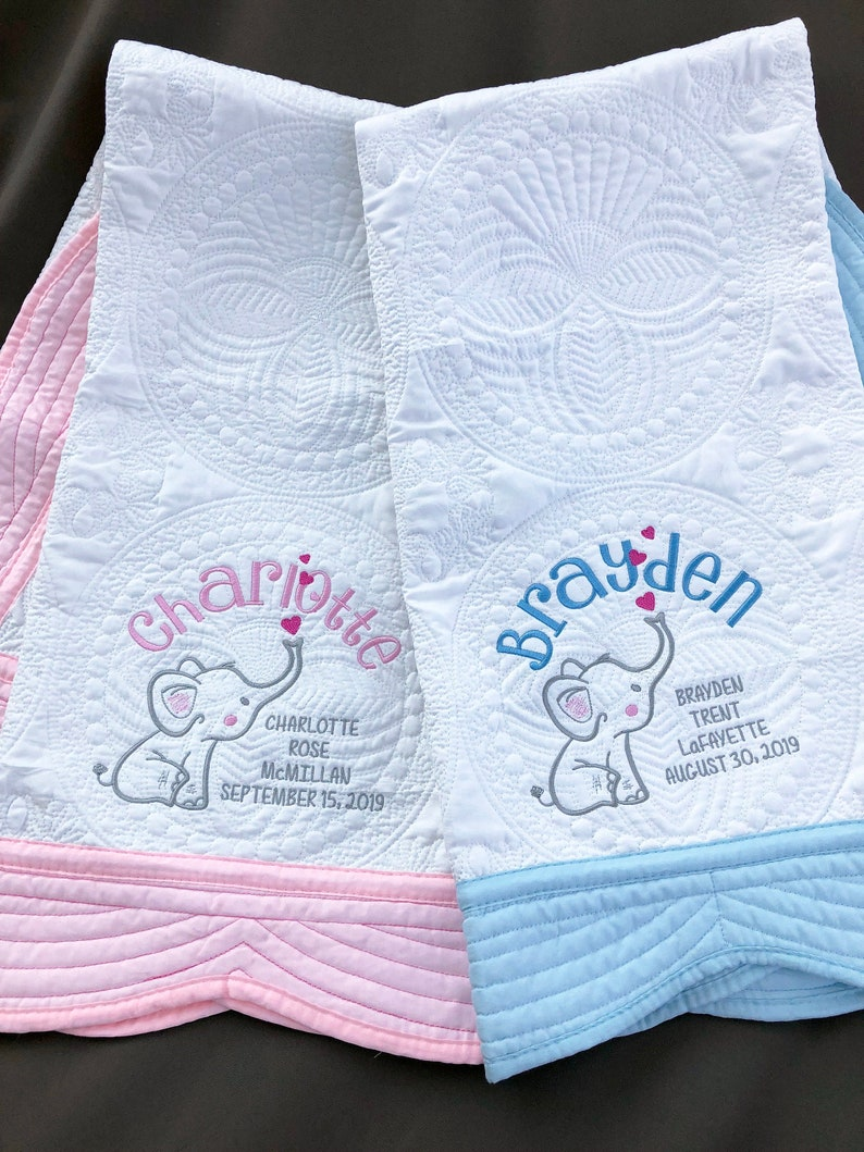 Elephant Baby Blanket Personalized Gift for Boy