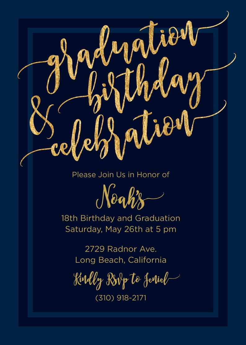 Printed Graduation 18th Birthday Invitation Navy Blue And