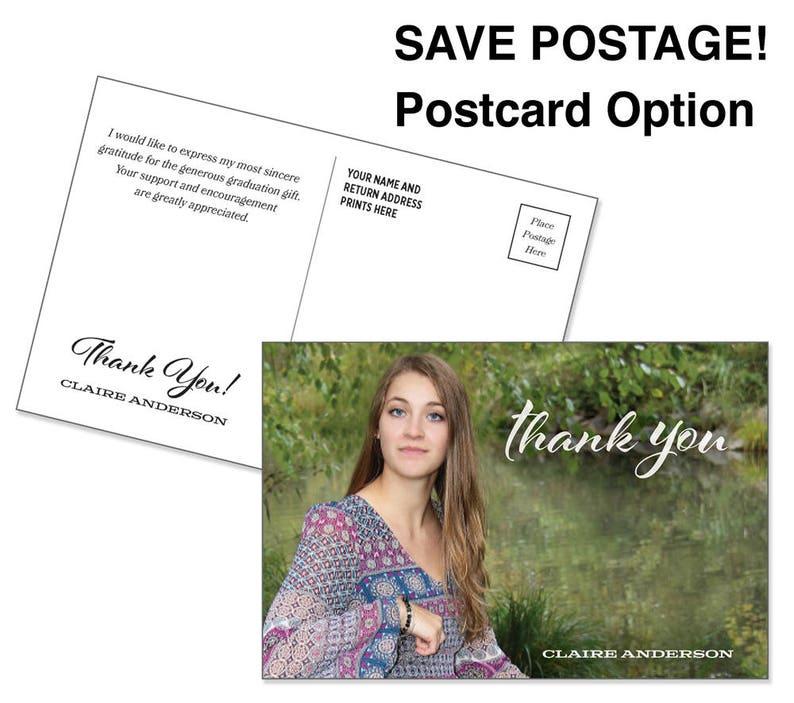 Graduation Thank You Postcard \u2022 4x6 Photo Postcard \u2022 Customized for you \u2022 Postcards save postage costs or choose flat note card /& envelopes