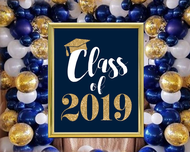 Tremendous Instant Download Printable Navy And Gold Graduation Party Class Of 2019 Navy Blue Gold Glitter Instant Download Jpg File You Print Download Free Architecture Designs Embacsunscenecom