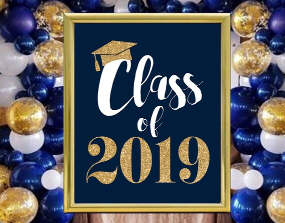 Instant Download Printable Grad Party Decoration Navy Blue Etsy