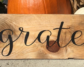 Grateful | Thankful | Blessed | Fall Decor | Thanksgiving Decor | Hand painted reclaimed wood