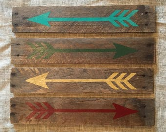 Arrow pallet wood hand painted sign