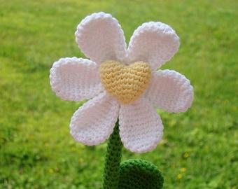 Amigurumi heart crochet flower, Wife flower gift, Custom message