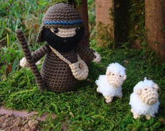 Shepherd and sheep, Crochet Nativity Set, Christmas nativity scene, handmade nativity